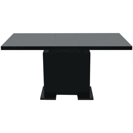 shumee Raztegljiva Miza za Jedilnico Visok Sijaj Črne Barve