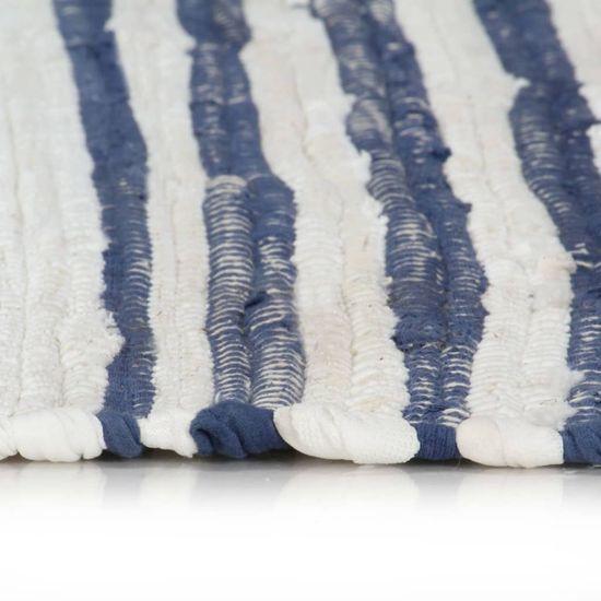 shumee Ročno tkana Chindi preproga bombaž 80x160 cm modra in bela