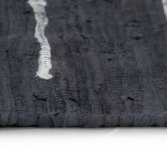 shumee Ročno pletena Chindi preproga iz bombaža 120x170 cm antracitna