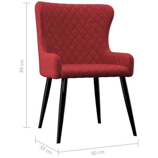shumee Jedilni stoli 4 kosi bordo rdeče blago