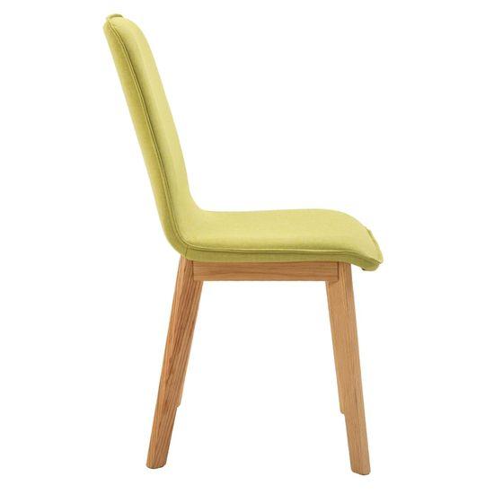 shumee Krzesła stołowe, 4 szt., zielone, tkanina i lity dąb
