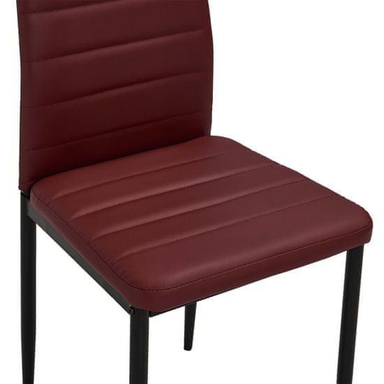 shumee Jedilni stoli 4 kosi bordo rdeče umetno usnje