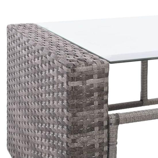 shumee 4-dielna záhradná sedacia súprava s vankúšmi sivá polyratanová