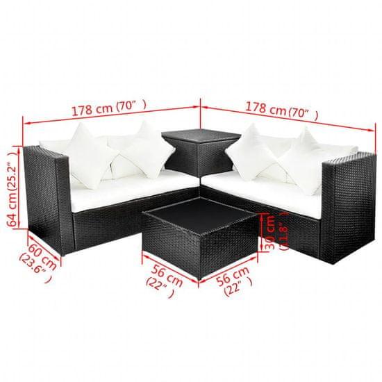shumee Vrtna sedežna garnitura z blazinami 4-delna poli ratan črna