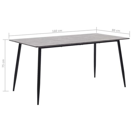 Greatstore Jedálenský stôl, sivý 160x80x75 cm, MDF