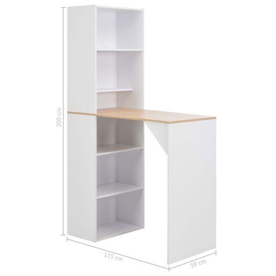 shumee fehér bárasztal szekrénnyel 115 x 59 x 200 cm