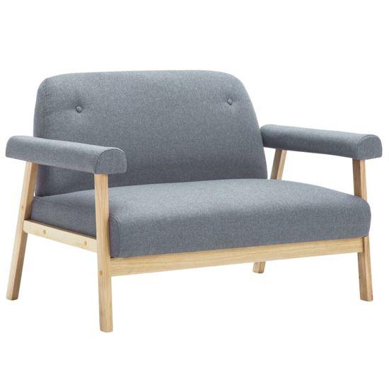 shumee Komplet sedežne garniture za 6 oseb s prevleko iz blaga svetlo siva