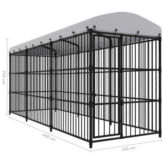 shumee Zunanji pasji boks s streho 450x150x210 cm