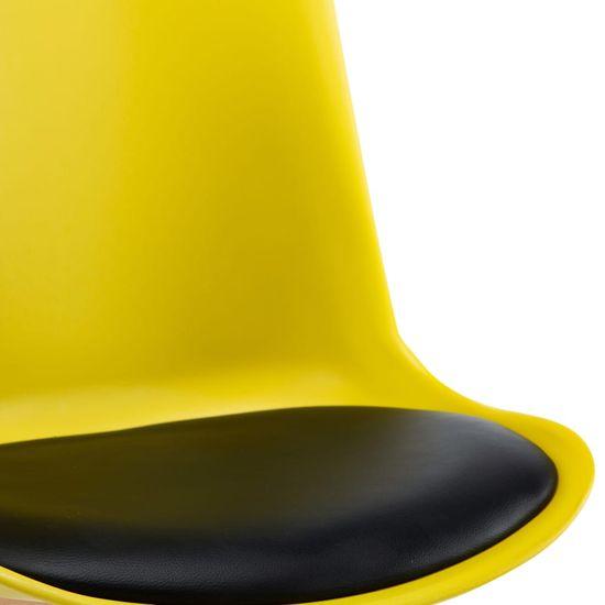 shumee 6 db sárga és fekete műbőr étkezőszék
