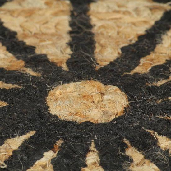 shumee kézzel font jutaszőnyeg fekete mintával 90 cm