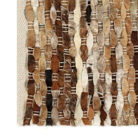 shumee Koberec 160x230 cm kúsky pravej kože so srsťou hnedý/biely