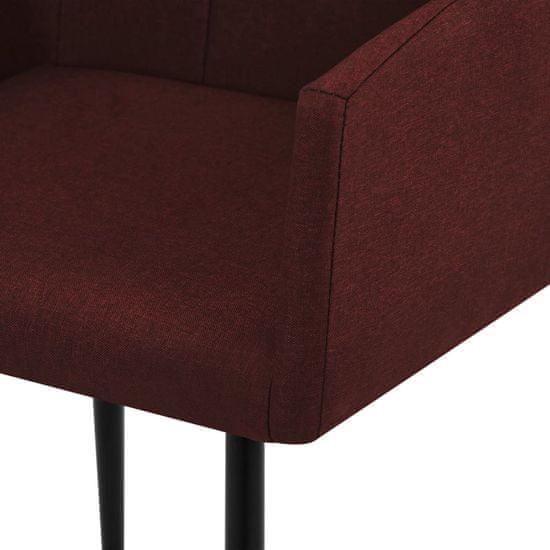 Greatstore Jedálenské stoličky s opierkami 4 ks, vínovo červené, látka