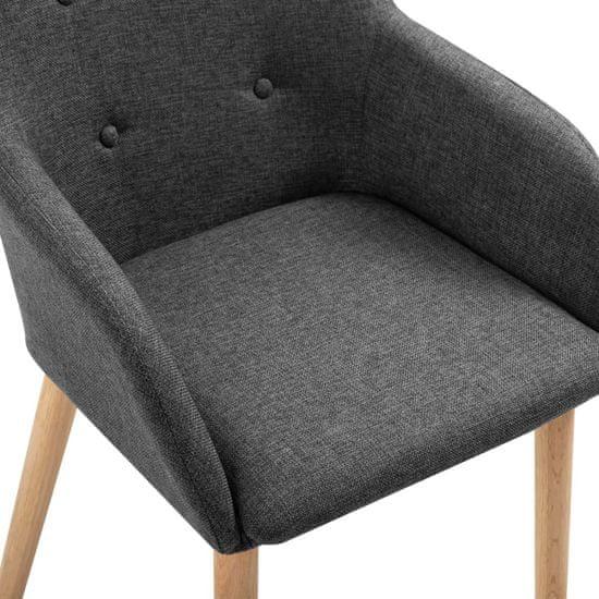 Petromila Jedálenské stoličky 4 ks tmavosivé látka a dubové drevo