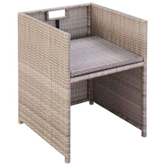 shumee 11-cz. zestaw mebli ogrodowych z poduszkami, rattan PE, beżowy