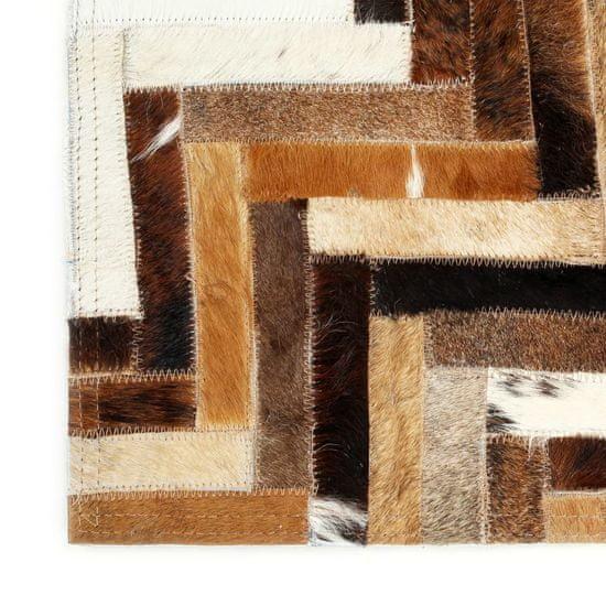 shumee Preproga iz pravega kosmatega usnja 80x150 cm rjava/bela