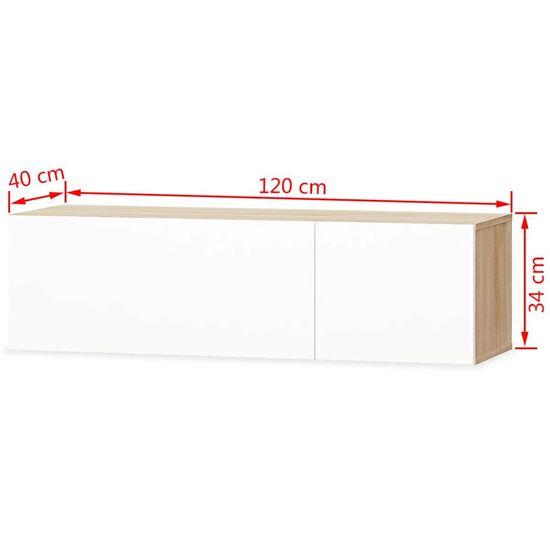 shumee 2 db tölgyfa/fehér magasfényű furnér TV szekrény 120x40x34 cm