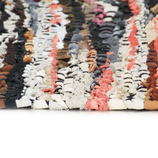 shumee Ročno tkana Chindi preproga iz usnja 160x230 cm večbarvna