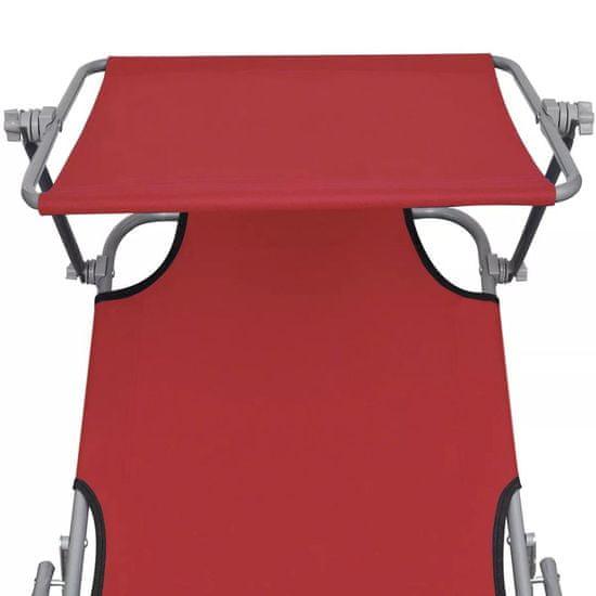 shumee Zložljiv ležalnik s streho jeklo in blago rdeč