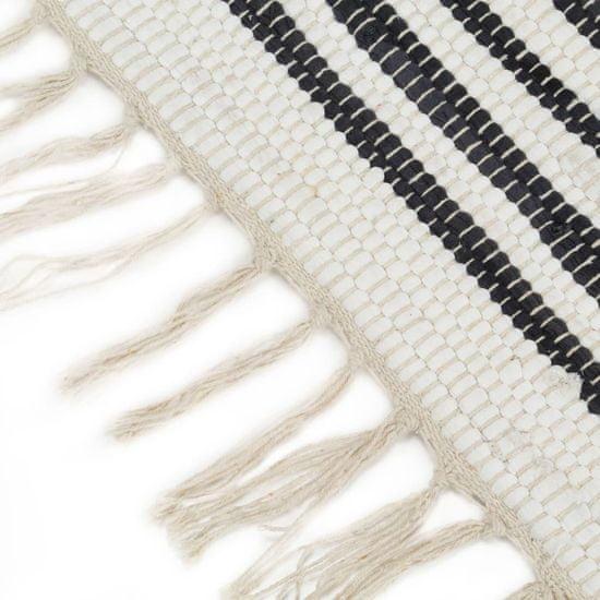 shumee Ročno tkana Chindi preproga bombaž 80x160 cm antracitna in bela