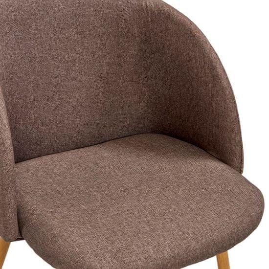 shumee Jedálenské stoličky 4 ks hnedé látkové