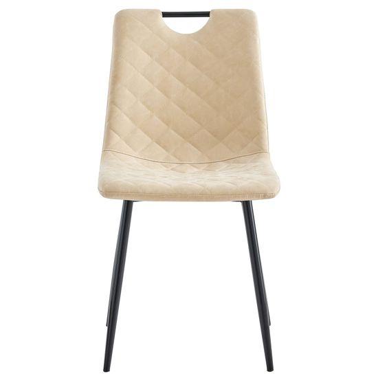 shumee Jedilni stoli 2 kosa krem umetno usnje