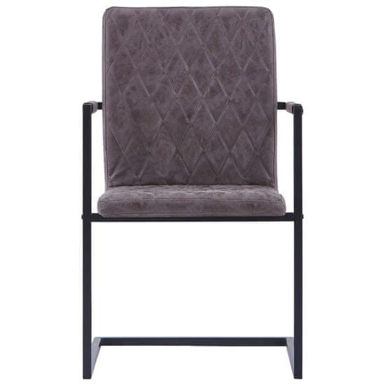 shumee Krzesła stołowe, 2 szt., wspornikowe, ciemnobrązowe, ekoskóra