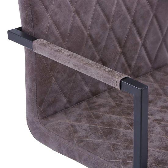 shumee Nihajni jedilni stoli 4 kosi temno rjavo umetno usnje