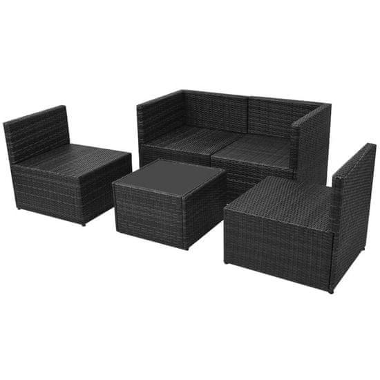 shumee 5-cz. zestaw mebli do ogrodu, poduszki, rattan PE, czarny