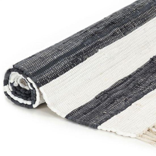shumee Ročno tkana Chindi preproga bombaž 120x170cm antracitna in bela