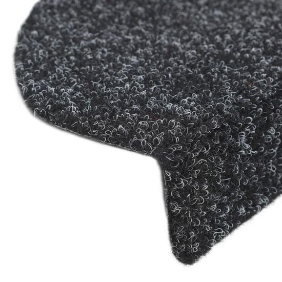 shumee 15 db fekete, öntapadós lépcsőszőnyeg 65 x 21 x 4 cm