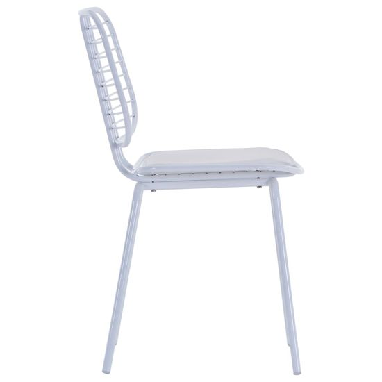 shumee Jedilni stoli s sedeži iz umetnega usnja 4 kosi belo jeklo