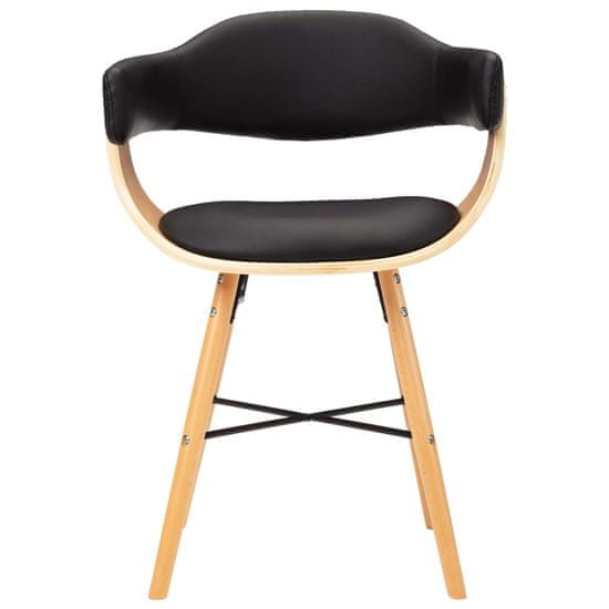 shumee Jedálenské stoličky 2 ks, čierne, umelá koža a ohýbané drevo
