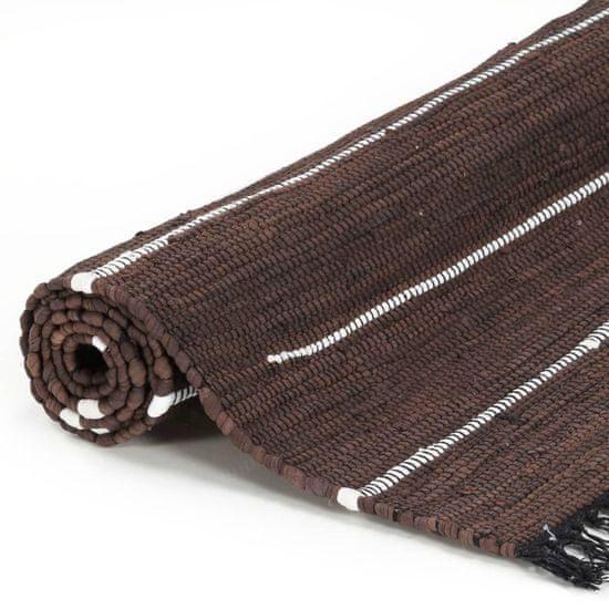 shumee Ročno tkana Chindi preproga iz bombaža 200x290 cm rjava