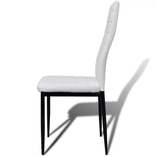 shumee Jedilni set 6 belih stolov z ravnimi linijami in stekleno mizo