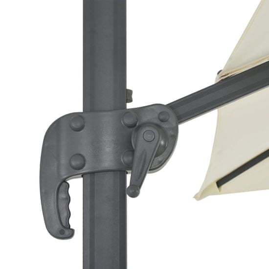 Greatstore Závesný slnečník s hliníkovou tyčou 300x300 cm pieskový