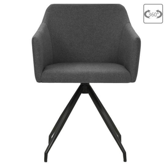 shumee Vrtljivi jedilni stoli 2 kosa temno sivo blago
