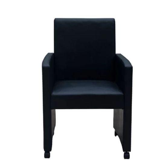 shumee Jedilni stoli 2 kosa črno umetno usnje