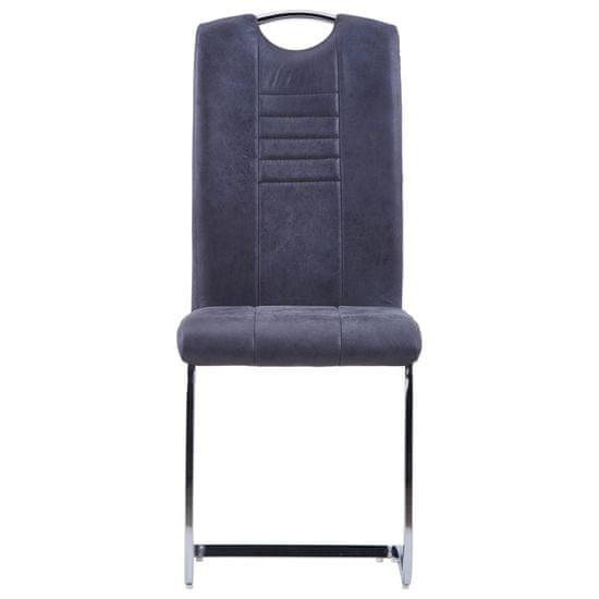 slomart Nihajni jedilni stoli 6 kosov sivo umetno semiš usnje