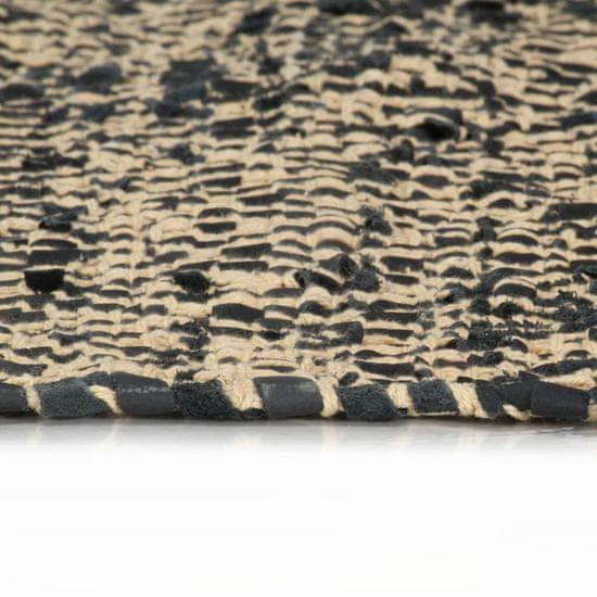 shumee Ročno tkana Chindi preproga usnje in bombaž 160x230 cm črna