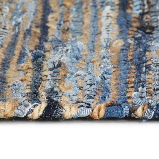 shumee Ročno pletena Chindi preproga iz džins jute 120x170cm večbarvna
