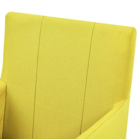 shumee 6 db sárga szövetkárpitozású karfás étkezőszék