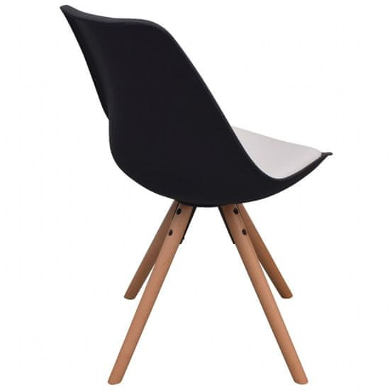 shumee Jedilni stoli 2 kosa črno in belo umetno usnje