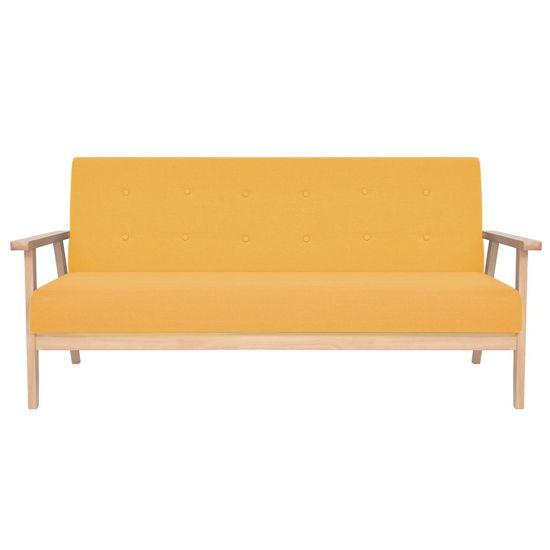 shumee Komplet kavčev 2 kosa iz blaga rumene barve