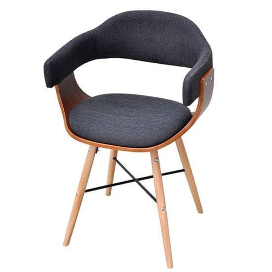 shumee Jedilni stoli 6 kosov temno sivi ukrivljen les in blago