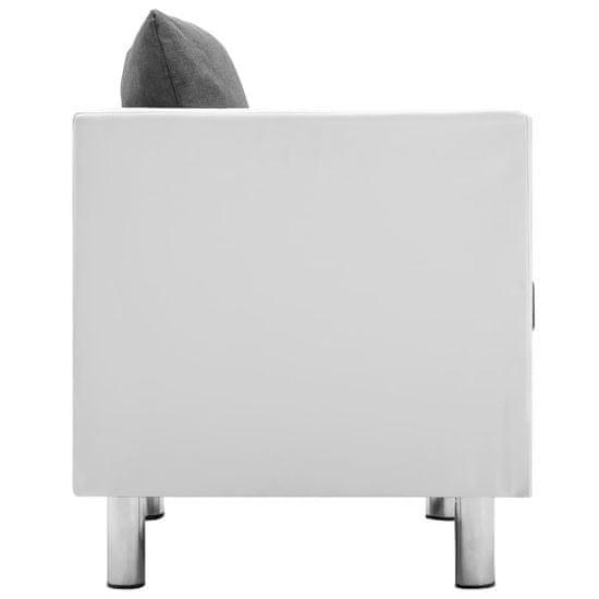 shumee Sedežna garnitura 2-delna umetno usnje bela in svetlo siva