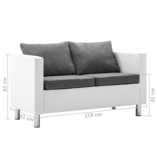 Greatstore Sedežna garnitura 2-delna umetno usnje bela in svetlo siva