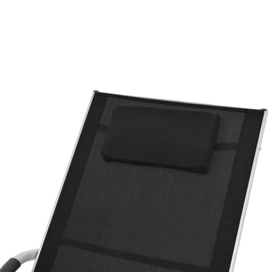 shumee Záhradné ležadlo s vankúšom, hliník a textilén, čierne