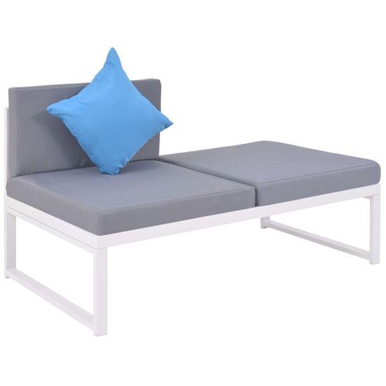 shumee Vrtna sedežna garnitura z blazinami 4-delna aluminij in WPC