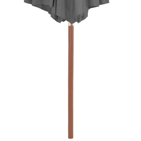 Greatstore Zunanji senčnik z lesenim drogom 300 cm antracit