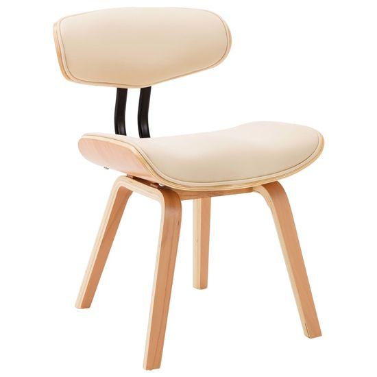 Petromila Jedálenské stoličky 2 ks krémové ohýbané drevo a umelá koža